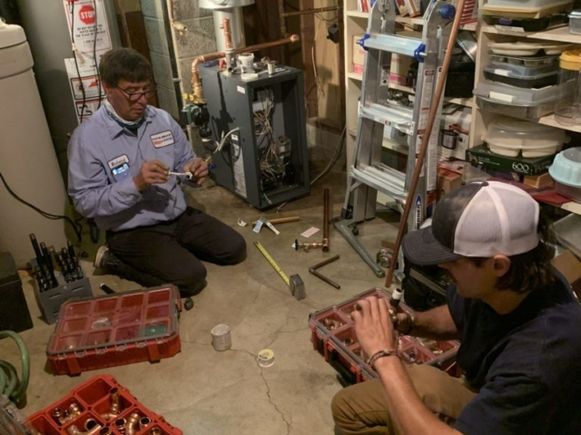 White Bear Heating & Cooling Crew on Boiler Installation